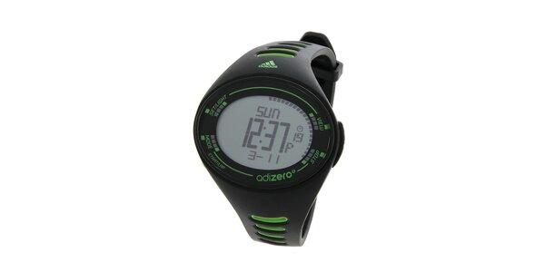 Pánské černé sportovní hodinky Adidas se zelenými detaily