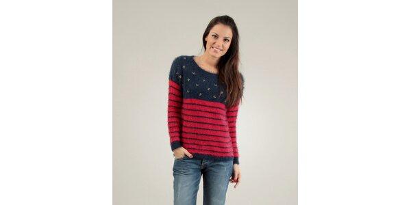 Dámský modro-červený chlupatý svetr Free for Humanity