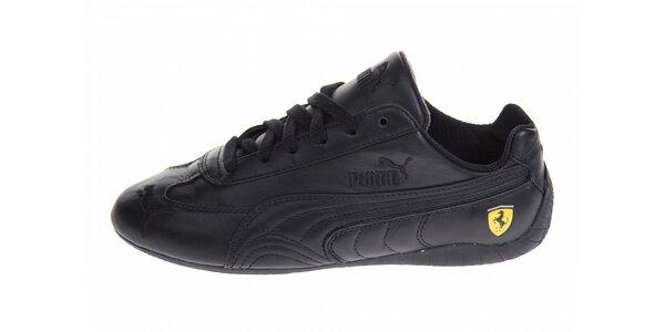 Černé kožené tenisky Puma Ferrari