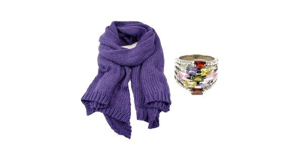 Dámský set prstenu a fialového šálu Invuu