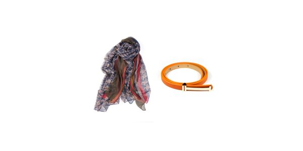 Dámský set potištěného šátku a oranžového pásku Invuu