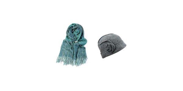 Dámský set tyrkysové šálky a šedého kloboučku Invuu
