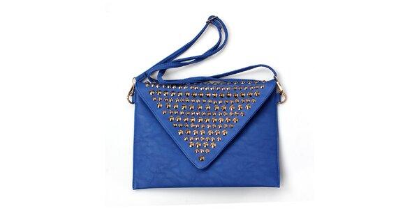 Dámská modrá kabelka se zlatými cvočky London Fashion