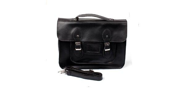 Dámská velká černá kabelka s přezkami London Fashion