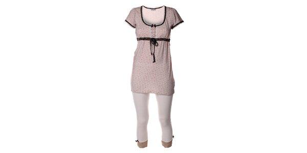 Dámský krémový pyžamový set legín a trička Vive Maria