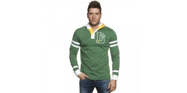 Pánské zelené tričko Lois s kapucí a bílými detaily