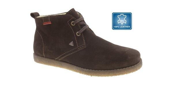 Pánské tmavě hnědé semišové boty Beppi