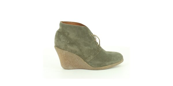 Dámské šedo-zelené semišové kotníkové boty Foreva