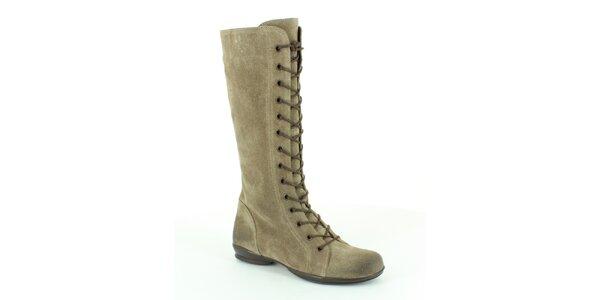 Dámské šedo-béžové vysoké šněrovací boty Foreva