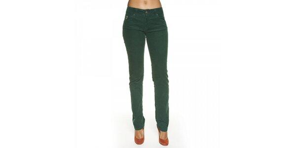 Dámské tmavě zelené manšestrové kalhoty Lois