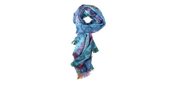 Dámský tyrkysovo-fialový šál Fraas