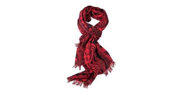 Dámský červeno-černý šál se vzorem Fraas