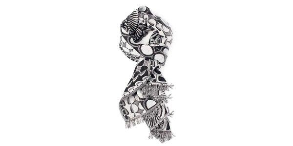 Dámský bílo-černý šál se vzorem Fraas