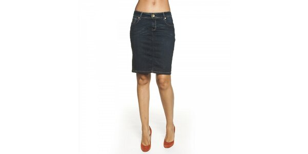 Dámská tmavě modrá džínová sukně Lois s kontrastním prošíváním