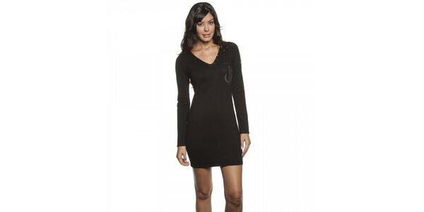 Dámské černé úpletové mini šaty Lois s flitry