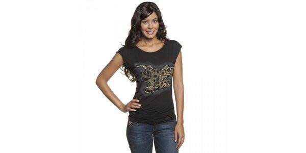 Dámské černé tričko Lois s potiskem a kovovými druky