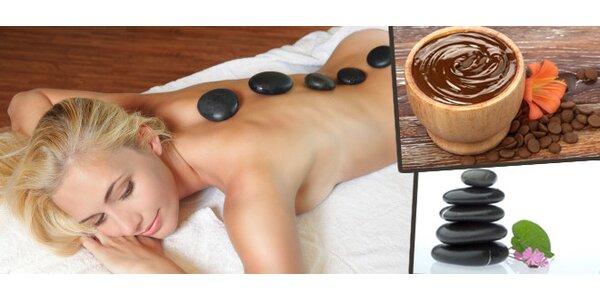 Čokoládovo-kokosová masáž zad a šíje lávovými kameny a voňavým peelingem