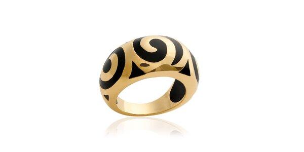 Zlatý prsten s černým vzorem La Mimossa