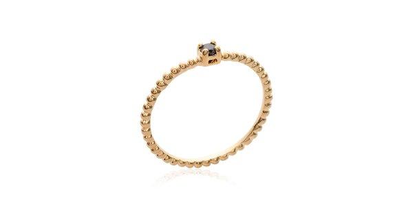 Dámský jednoduchý pozlacený prsten s černým zirkonem La Mimossa