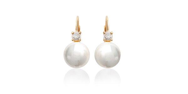 Dámské perlové náušnice s kamínky La Mimossa