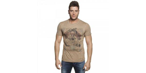 Pánské béžové tričko Lois s potiskem