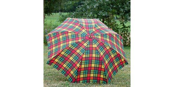 Dámský deštník Alvarez Romanelli s tartanovým vzorem červeno-zeleno-žlutým