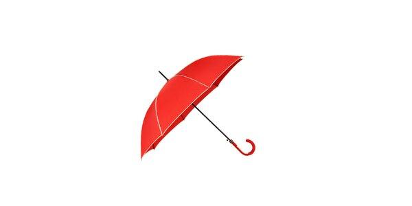 Elegantní dámský deštník Ferré Milano v jasně červené barvě s vanilkově žlutými…