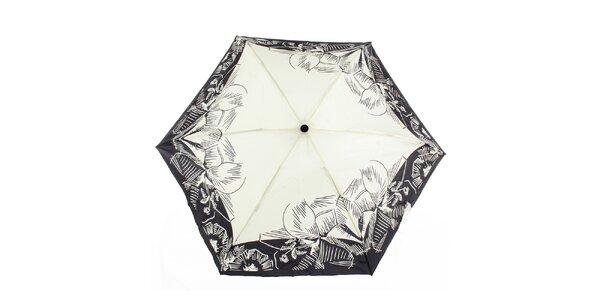 Dámský vystřelovací krémovo-černý deštník s potiskem Ferré Milano