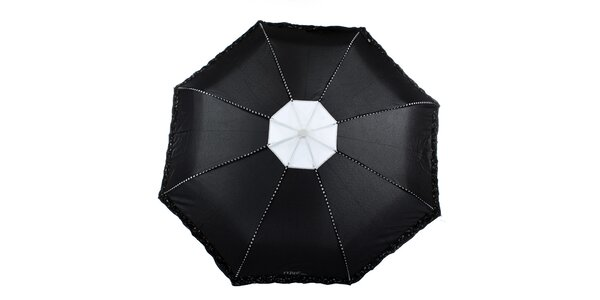 Dámský černý deštník s plastickými květy Ferré Milano