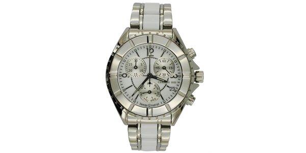 Dámské stříbrné ocelové hodinky s chronografem Cerutti 1881