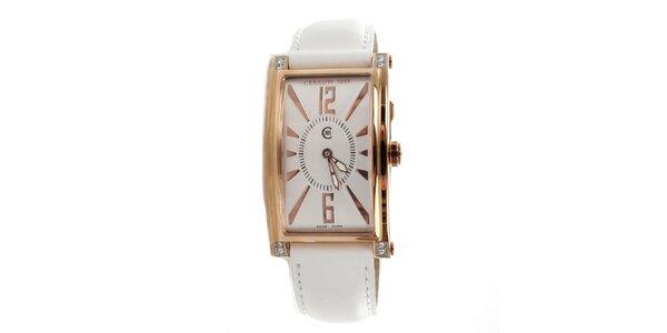 Dámské zlato-bílé hranaté hodinky Cerruti 1881