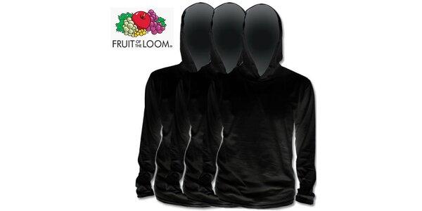 Tři černé trička s kapucí