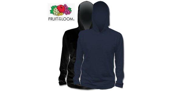 Černé a modré tričko s kapucí