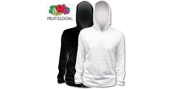 Černé a bílé tričko s kapucí