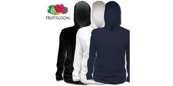 Černé, bílé a modré tričko s kapucí