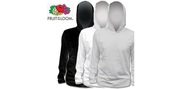 Černé, bílé a šedé tričko s kapucí