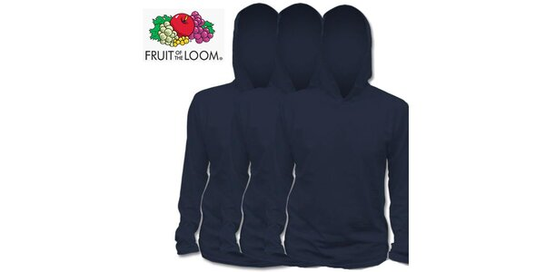 Tři modré trička s kapucí