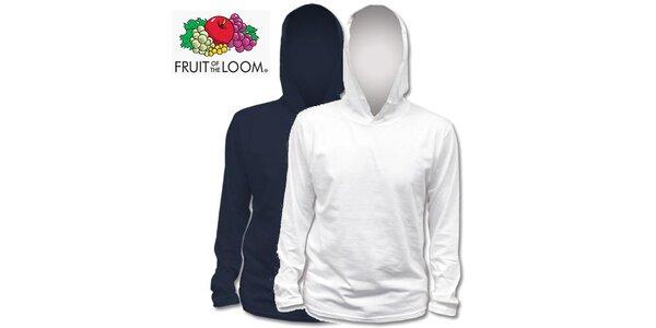 Modré a bílé tričko s kapucí