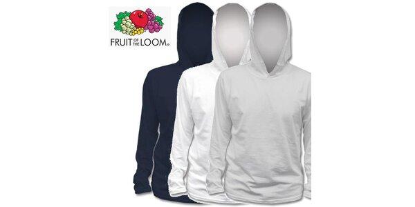 Modré, bílé a šedé tričko s kapucí