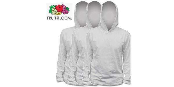 Tři šedé trička s kapucí