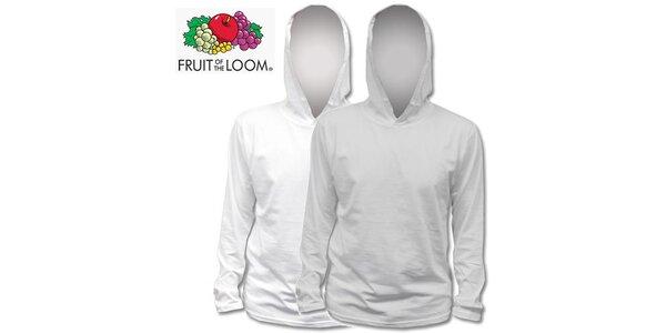 Bílé a šedé tričko s kapucí