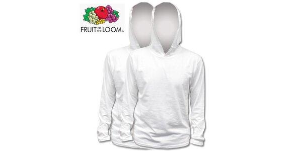 Dvě bílé trička s kapucí
