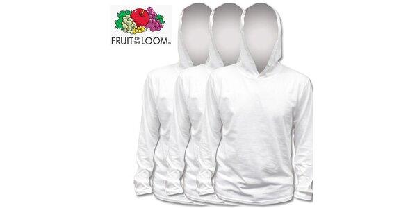 Tři bílé trička s kapucí