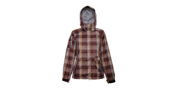 Dámská zimní bunda značky Nugget v čokoládově hnědé barvě se vzorem