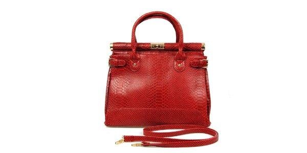 Dámská červená kabelka se zámečkem London Fashion