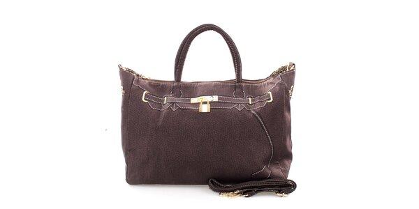 Dámská tmavě hnědá kabelka s potiskem zlatého zámečku London Fashion