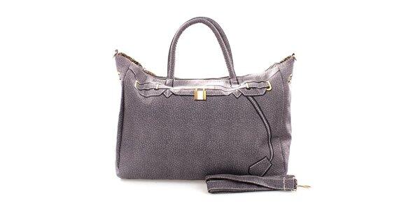 Dámská šedá kabelka s potiskem zlatého zámečku London Fashion