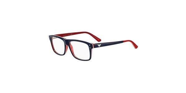 Modro-červené hranaté obroučky Emporio Armani