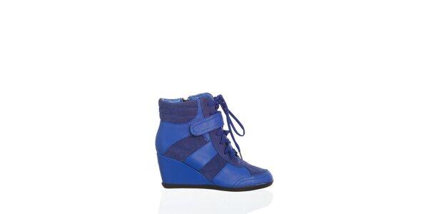 Dámskézářivě modrékotníčkové boty Moow na vysokém klínu