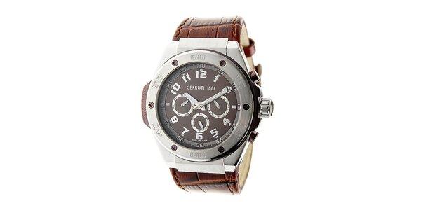 Pánské hnědé ocelové hodinky s chronografem Cerruti 1881